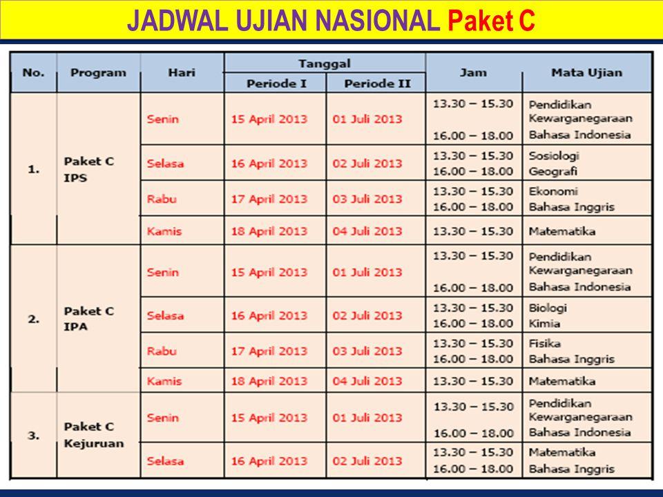 JADWAL UJIAN NASIONAL Paket C