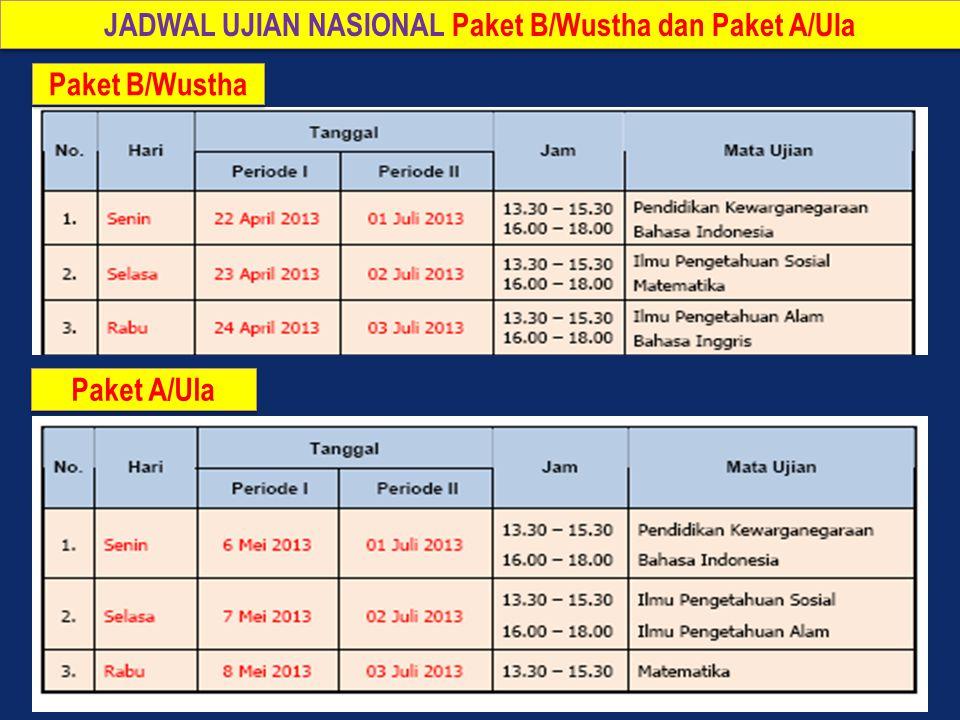JADWAL UJIAN NASIONAL Paket B/Wustha dan Paket A/Ula