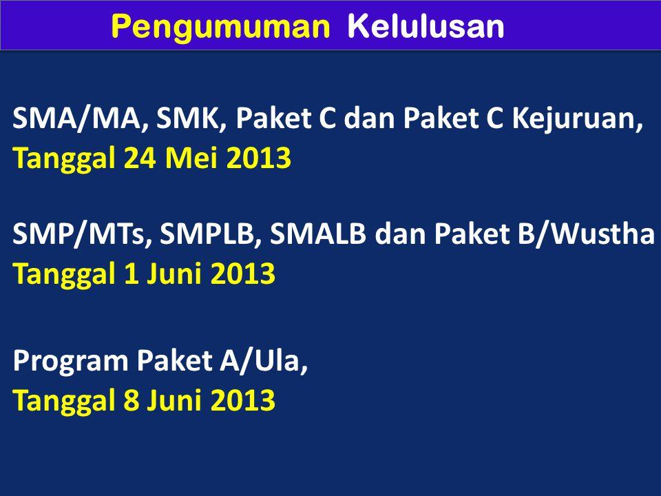 Pengumuman Kelulusan SMA/MA, SMK, Paket C dan Paket C Kejuruan, Tanggal 24 Mei 2013. SMP/MTs, SMPLB, SMALB dan Paket B/Wustha.