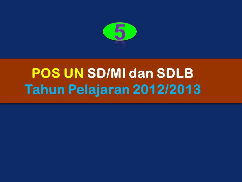 5 POS UN SD/MI dan SDLB Tahun Pelajaran 2012/2013