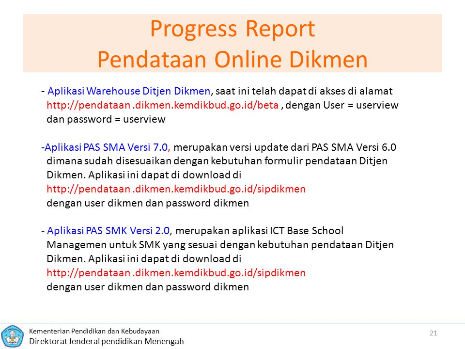 Progress Report Pendataan Online Dikmen