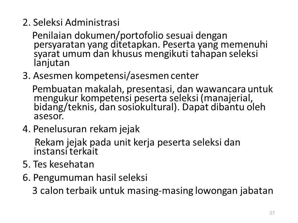 2. Seleksi Administrasi Penilaian dokumen/portofolio sesuai dengan persyaratan yang ditetapkan.