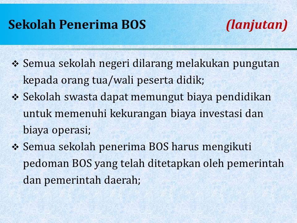 Sekolah Penerima BOS (lanjutan)