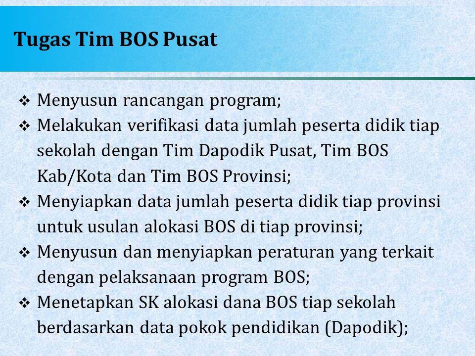 Tugas Tim BOS Pusat Menyusun rancangan program;
