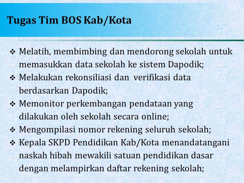 Tugas Tim BOS Kab/Kota Melatih, membimbing dan mendorong sekolah untuk memasukkan data sekolah ke sistem Dapodik;