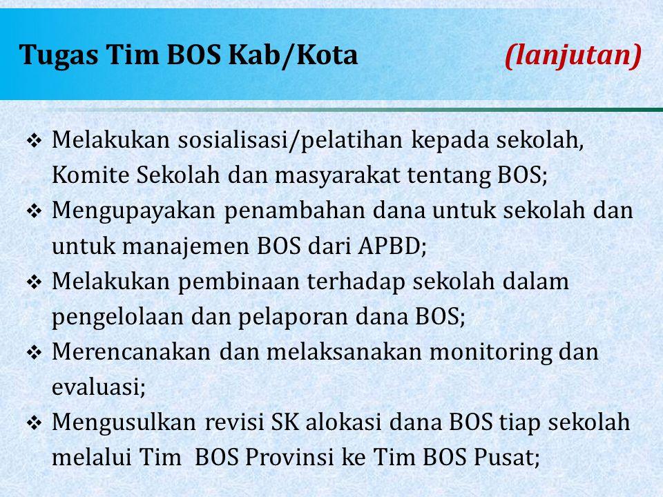 Tugas Tim BOS Kab/Kota (lanjutan)