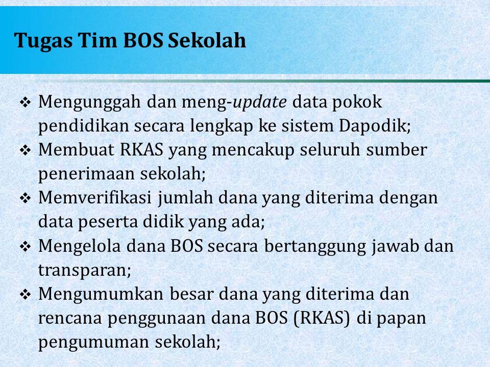 Tugas Tim BOS Sekolah Mengunggah dan meng-update data pokok pendidikan secara lengkap ke sistem Dapodik;