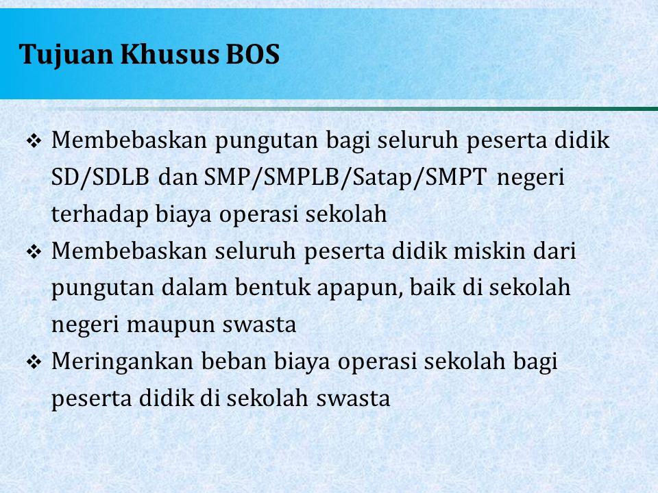 Tujuan Khusus BOS Membebaskan pungutan bagi seluruh peserta didik SD/SDLB dan SMP/SMPLB/Satap/SMPT negeri terhadap biaya operasi sekolah.