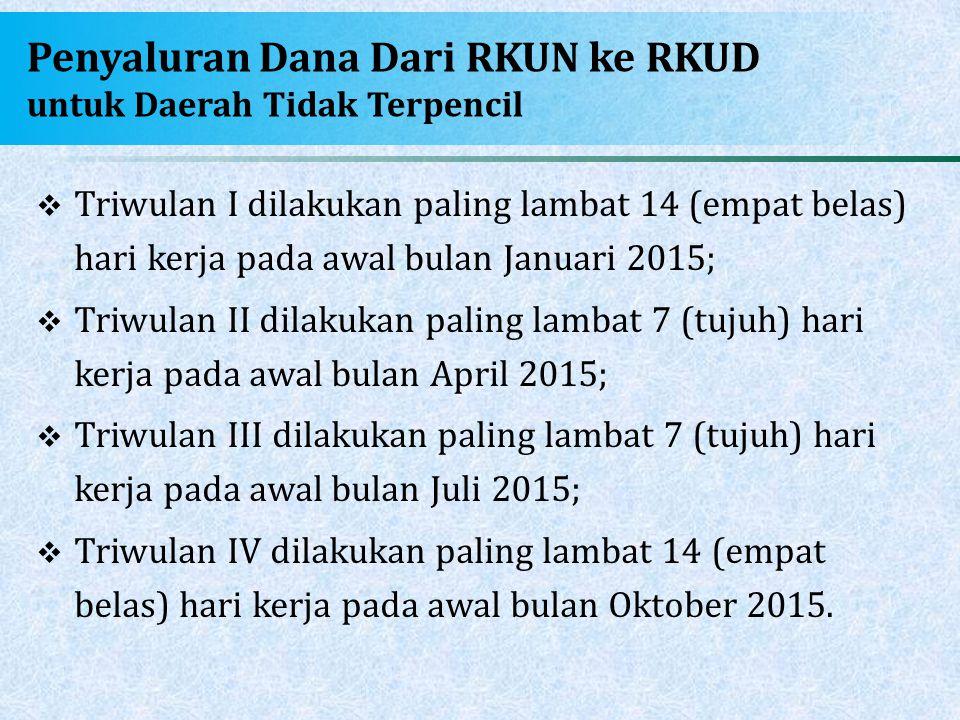 Penyaluran Dana Dari RKUN ke RKUD untuk Daerah Tidak Terpencil
