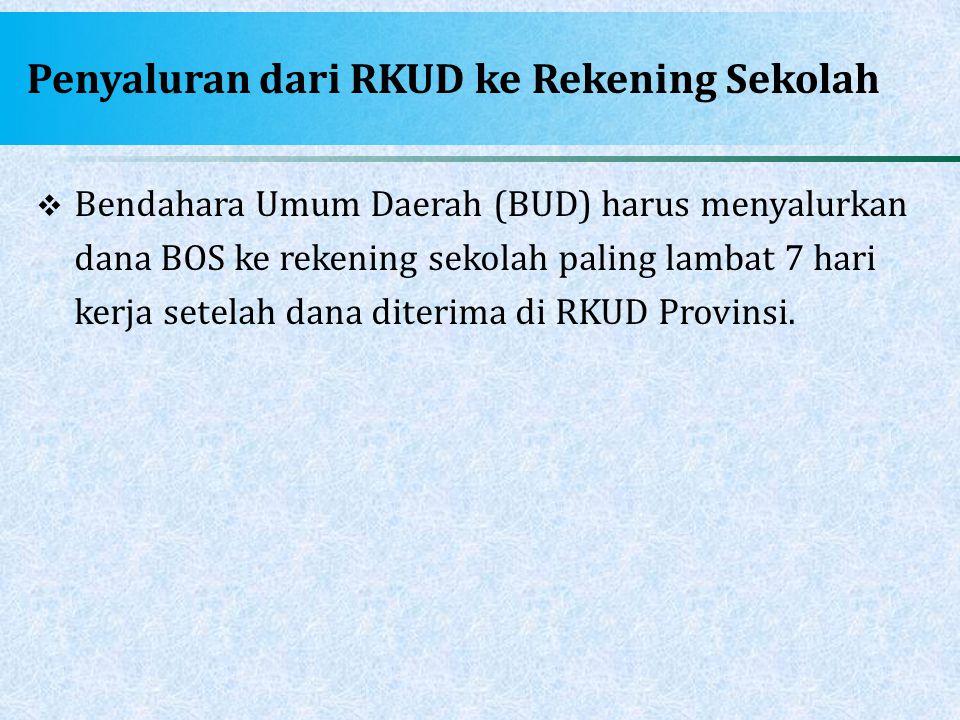 Penyaluran dari RKUD ke Rekening Sekolah