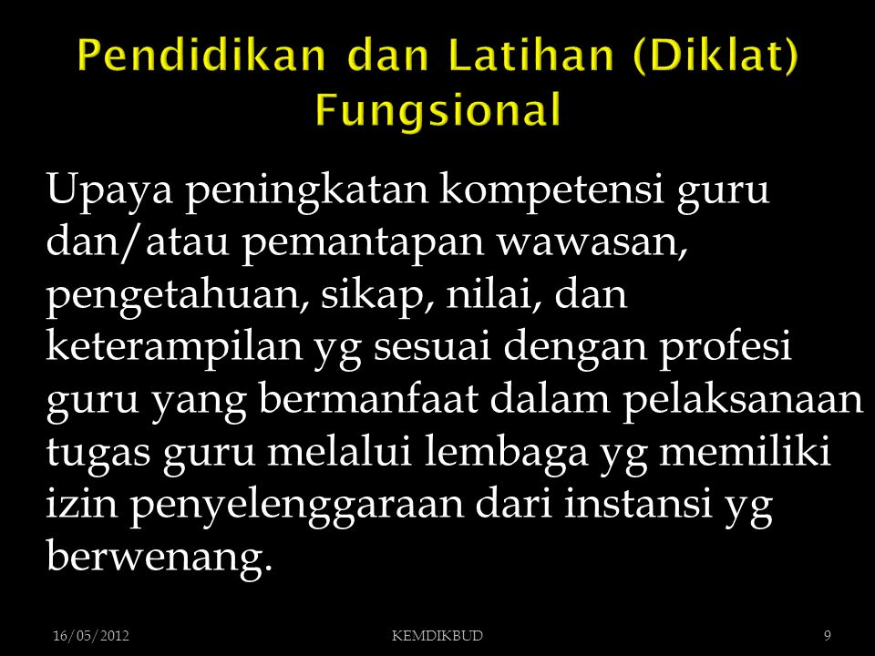 Pendidikan dan Latihan (Diklat) Fungsional