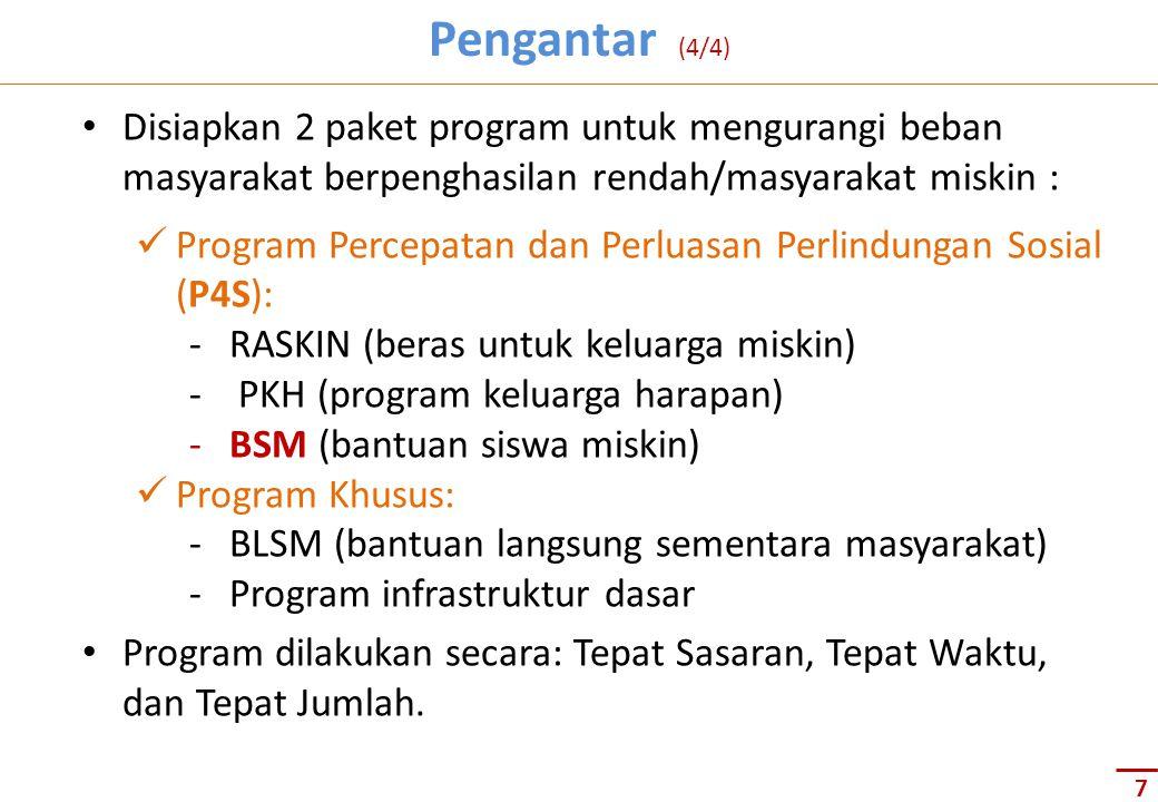 Pengantar (4/4) Disiapkan 2 paket program untuk mengurangi beban masyarakat berpenghasilan rendah/masyarakat miskin :