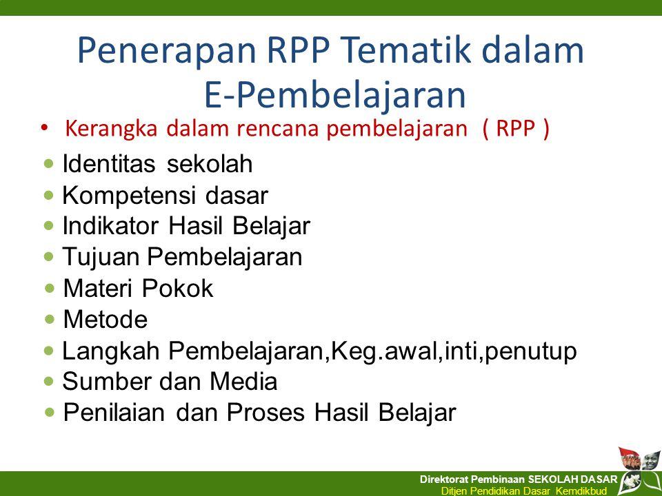 Penerapan RPP Tematik dalam E-Pembelajaran