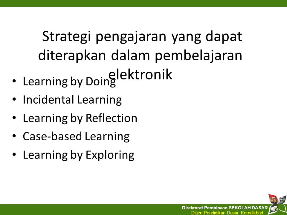 Strategi pengajaran yang dapat diterapkan dalam pembelajaran elektronik
