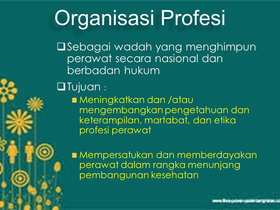 Organisasi Profesi Sebagai wadah yang menghimpun perawat secara nasional dan berbadan hukum. Tujuan :