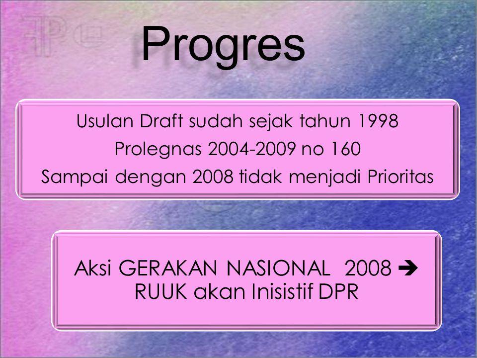 Progres Aksi GERAKAN NASIONAL 2008  RUUK akan Inisistif DPR