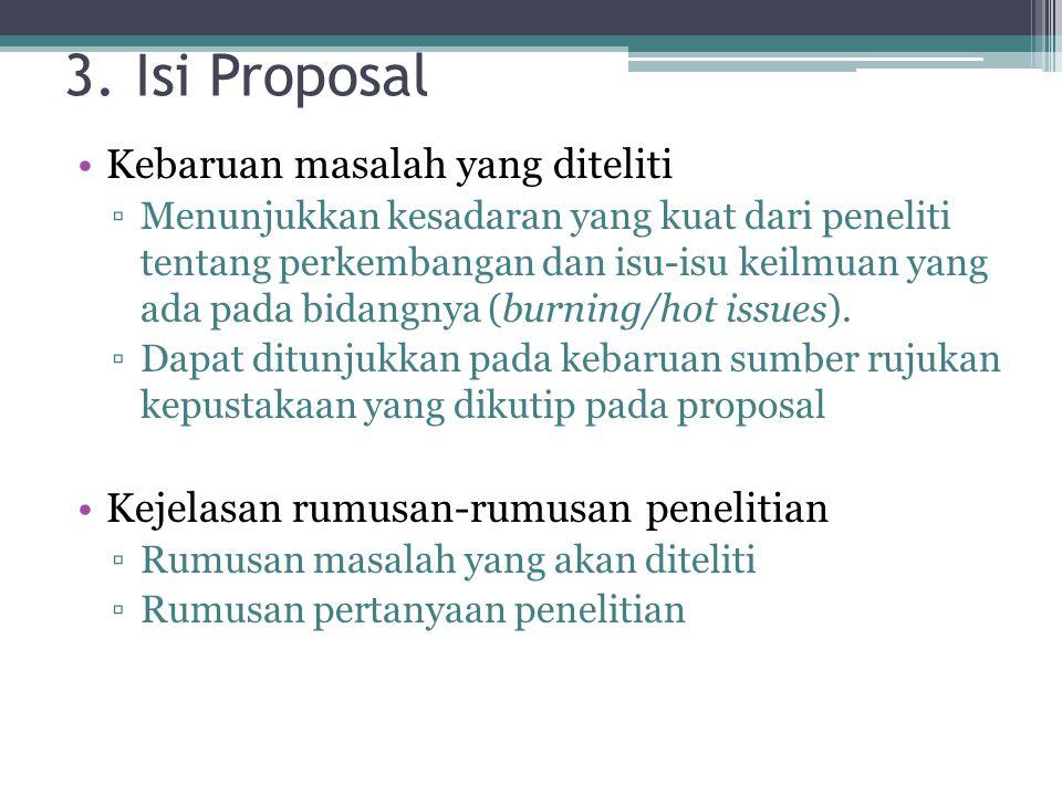 3. Isi Proposal Kebaruan masalah yang diteliti