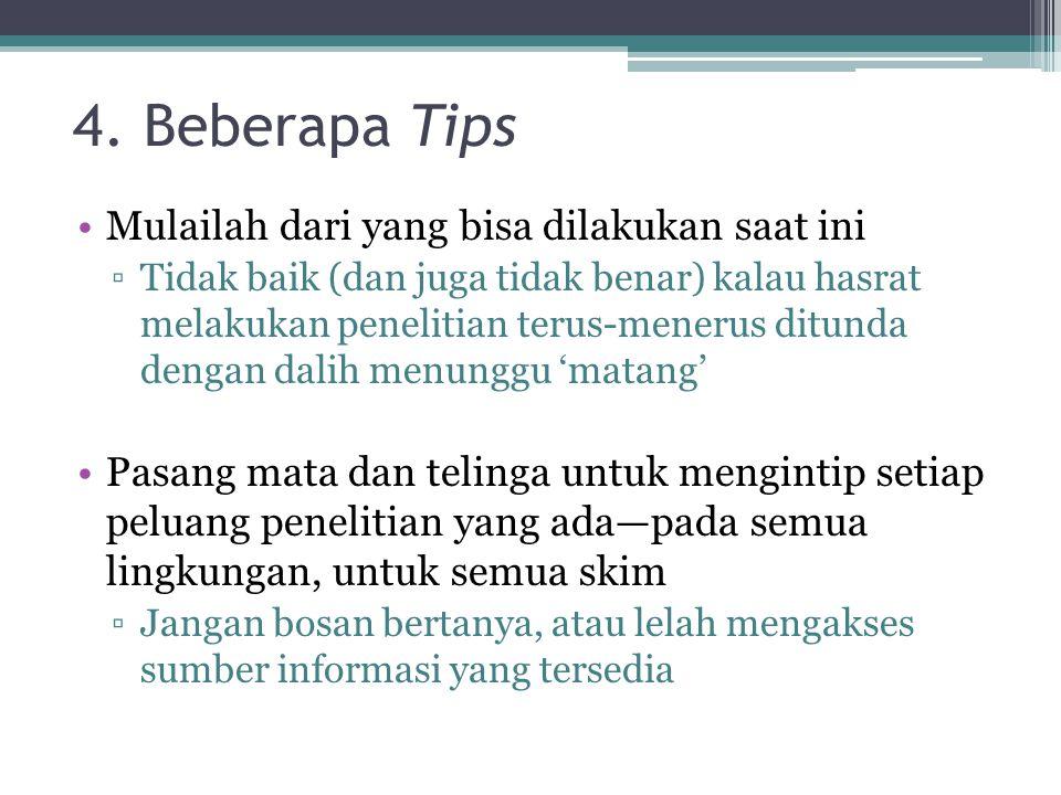 4. Beberapa Tips Mulailah dari yang bisa dilakukan saat ini
