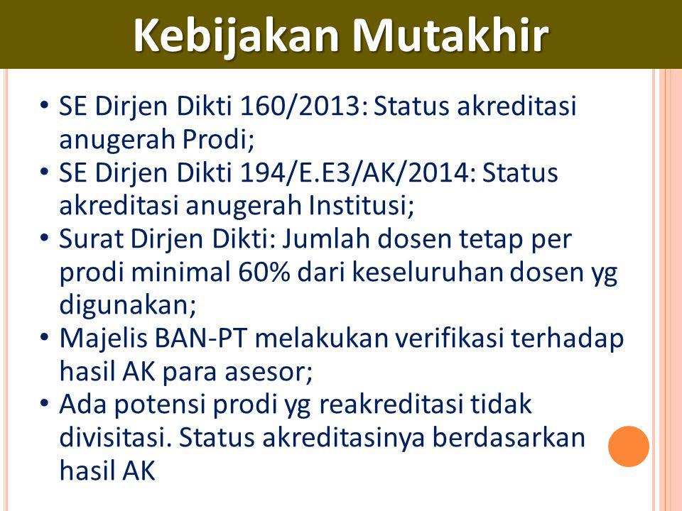 Kebijakan Mutakhir SE Dirjen Dikti 160/2013: Status akreditasi anugerah Prodi;