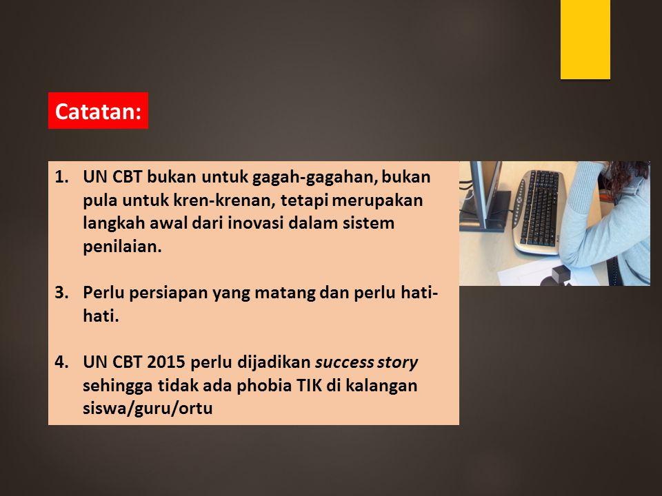 Catatan: UN CBT bukan untuk gagah-gagahan, bukan pula untuk kren-krenan, tetapi merupakan langkah awal dari inovasi dalam sistem penilaian.