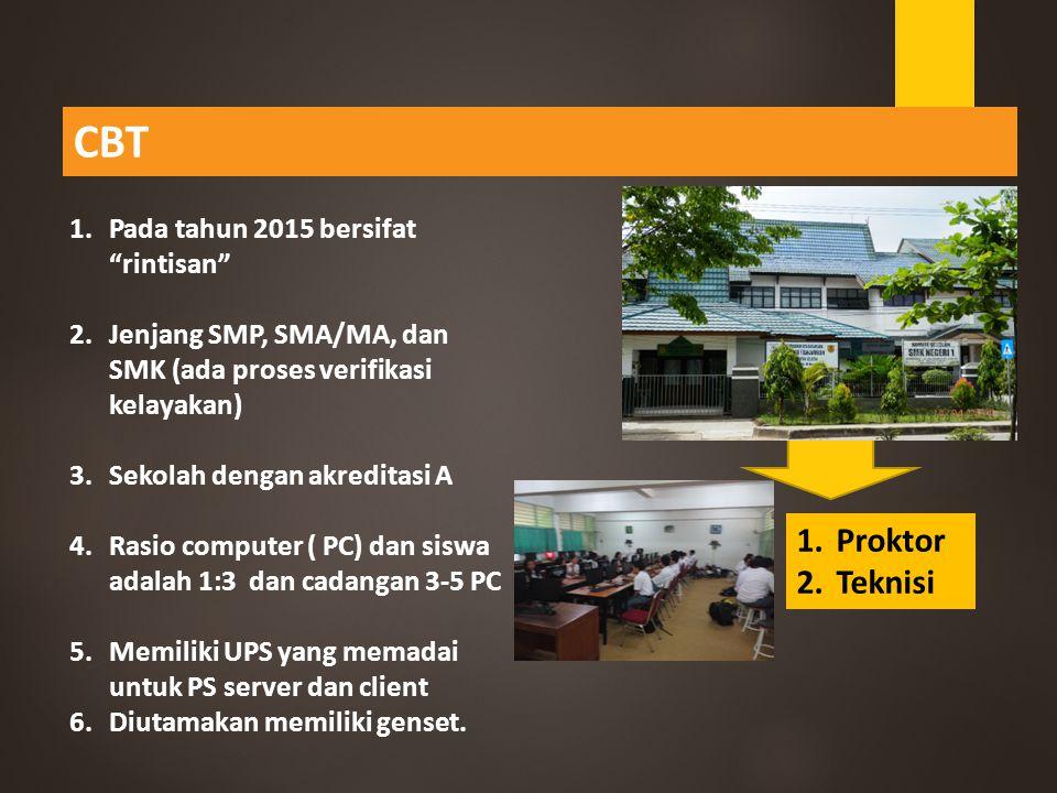 CBT Proktor Teknisi Pada tahun 2015 bersifat rintisan