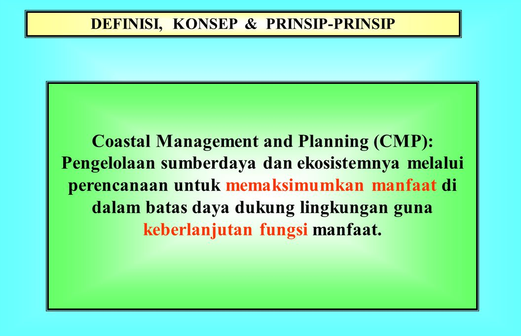 Coastal Management and Planning (CMP):