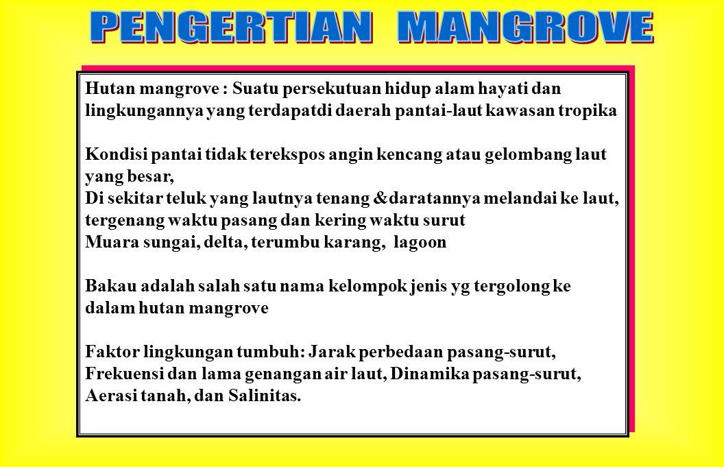 PENGERTIAN MANGROVE Hutan mangrove : Suatu persekutuan hidup alam hayati dan lingkungannya yang terdapatdi daerah pantai-laut kawasan tropika.