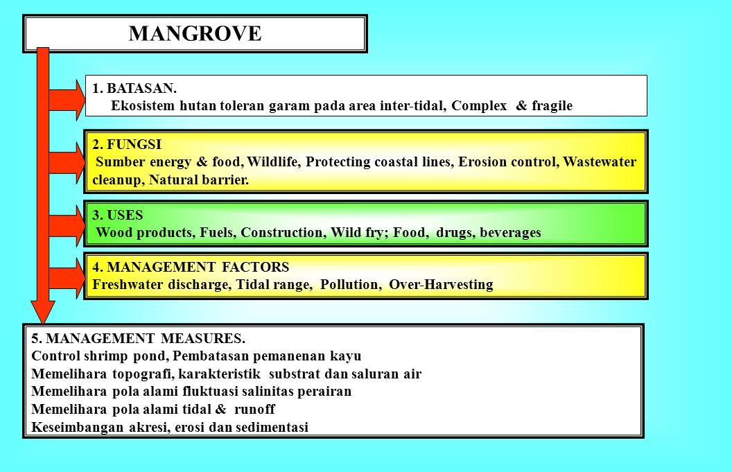MANGROVE 1. BATASAN. Ekosistem hutan toleran garam pada area inter-tidal, Complex & fragile. 2. FUNGSI.