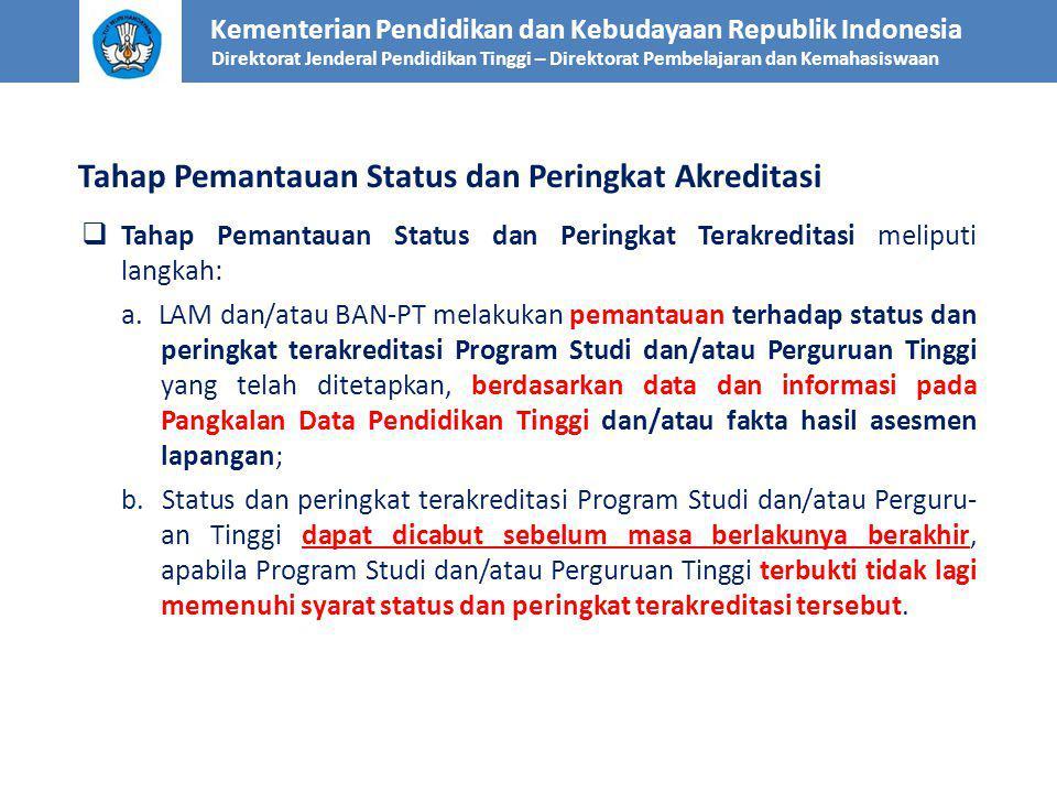 Tahap Pemantauan Status dan Peringkat Akreditasi