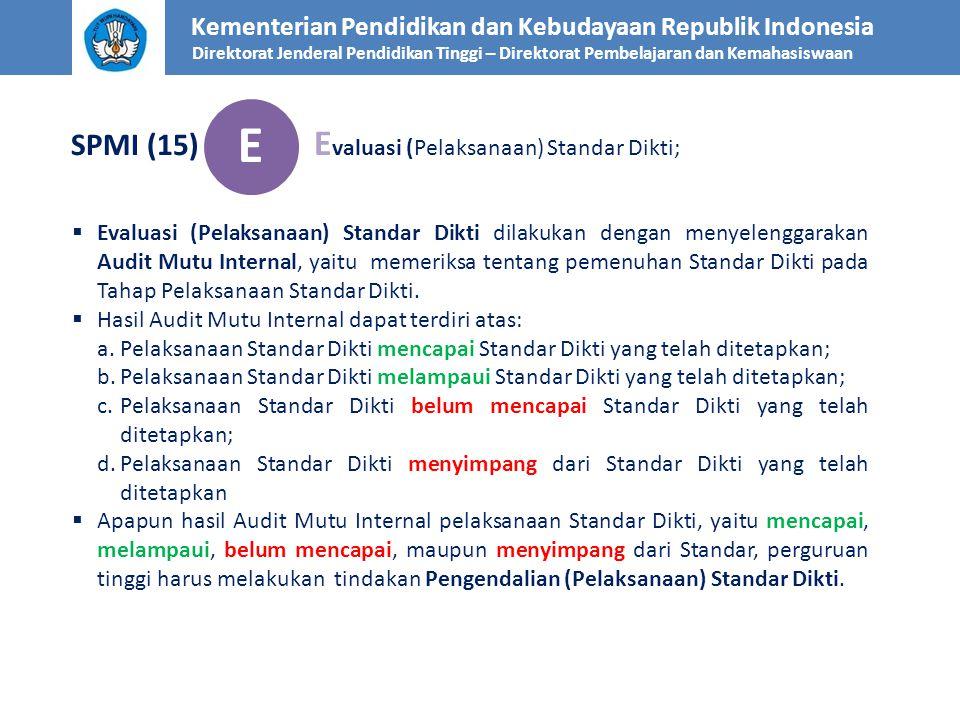 E SPMI (15) Evaluasi (Pelaksanaan) Standar Dikti;