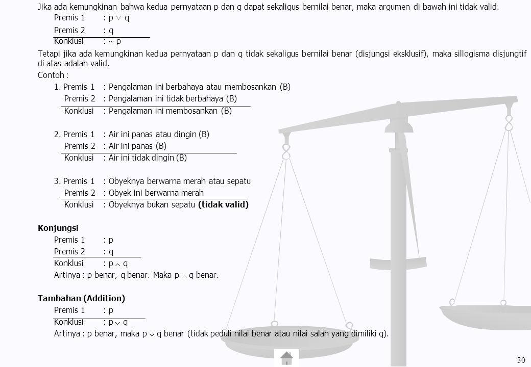 Jika ada kemungkinan bahwa kedua pernyataan p dan q dapat sekaligus bernilai benar, maka argumen di bawah ini tidak valid.
