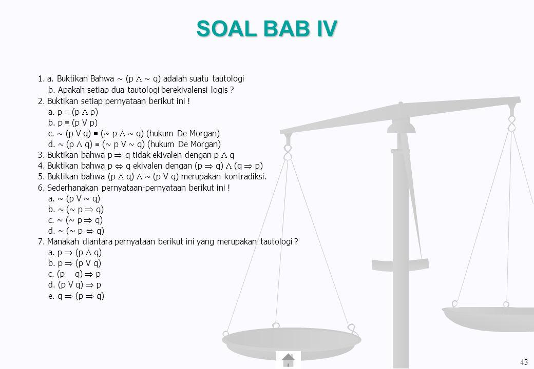 SOAL BAB IV 1. a. Buktikan Bahwa ~ (p  ~ q) adalah suatu tautologi