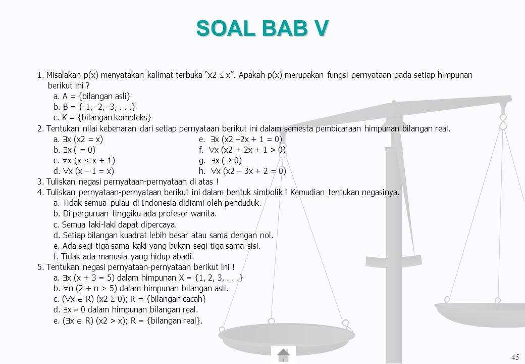 SOAL BAB V 1. Misalakan p(x) menyatakan kalimat terbuka x2  x . Apakah p(x) merupakan fungsi pernyataan pada setiap himpunan.