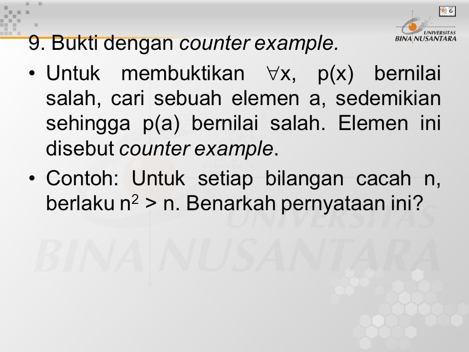 9. Bukti dengan counter example.