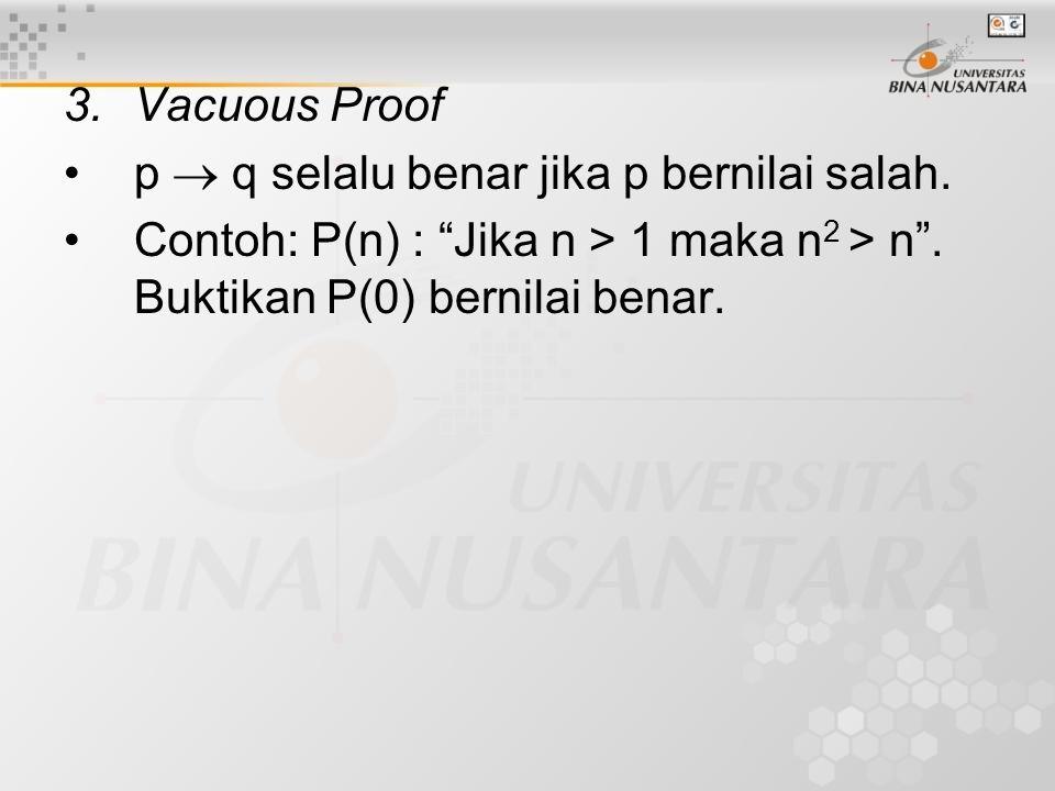 3. Vacuous Proof p  q selalu benar jika p bernilai salah.