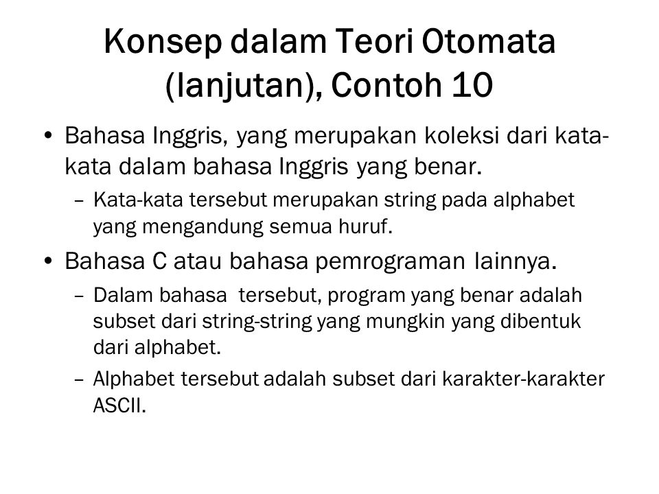 Konsep dalam Teori Otomata (lanjutan), Contoh 10