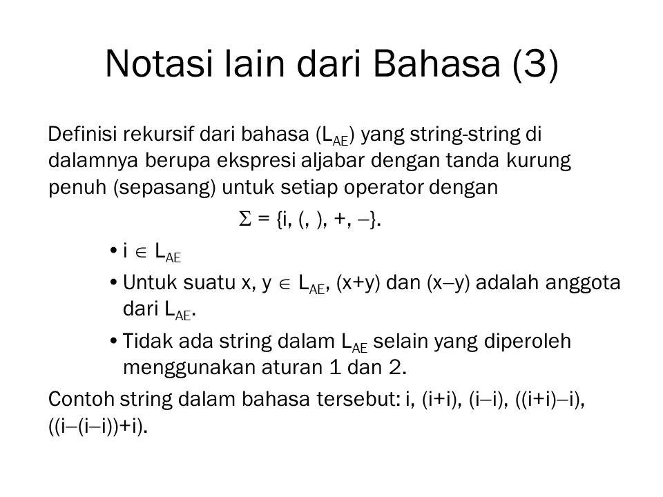 Notasi lain dari Bahasa (3)