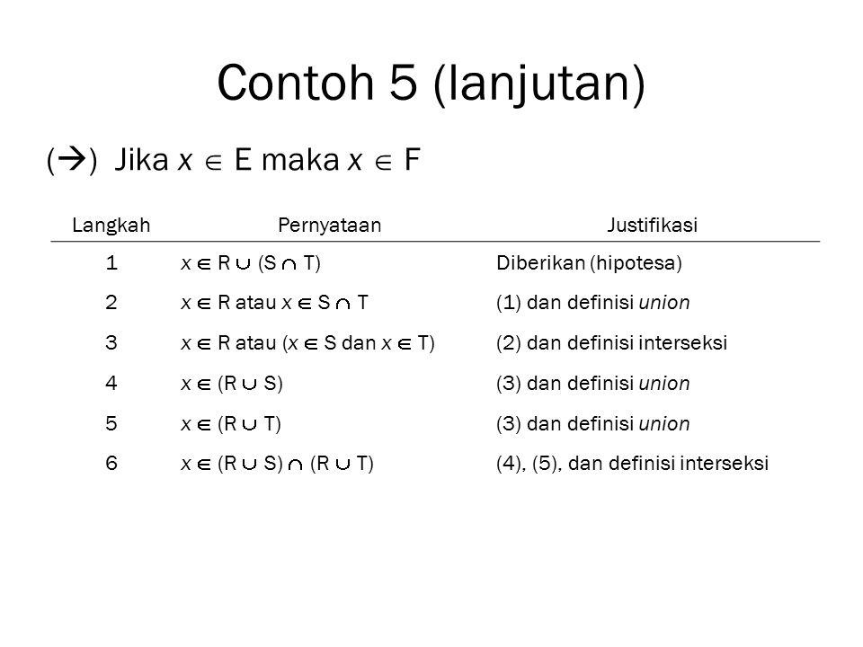Contoh 5 (lanjutan) () Jika x  E maka x  F Langkah Pernyataan