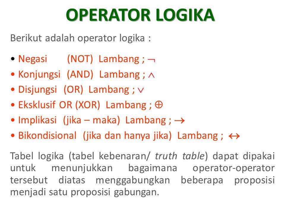 OPERATOR LOGIKA Berikut adalah operator logika :
