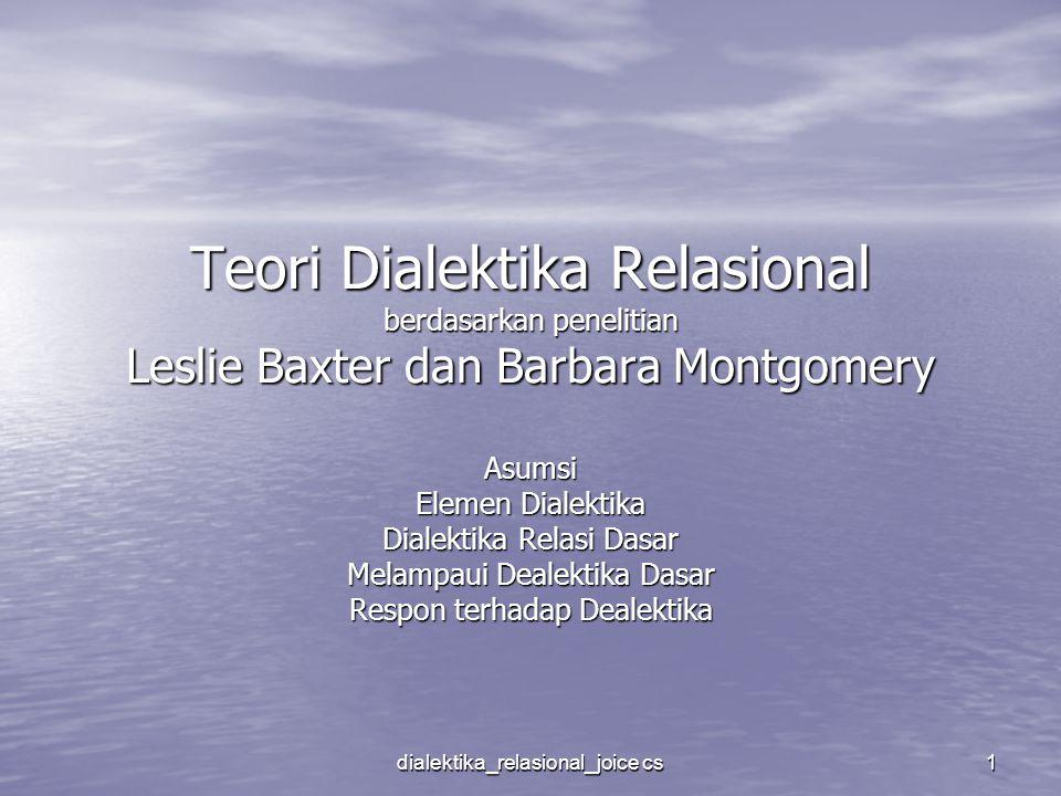 Teori Dialektika Relasional berdasarkan penelitian Leslie Baxter dan Barbara Montgomery