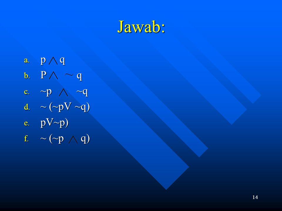 Jawab: p q P q ~p ~q ~ (~pV ~q) pV~p) ~ (~p q)