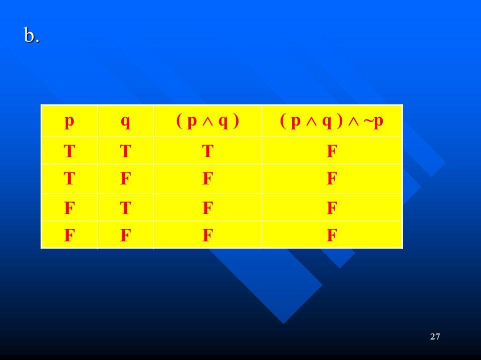 b. p q ( p  q ) ( p  q )  ~p T F
