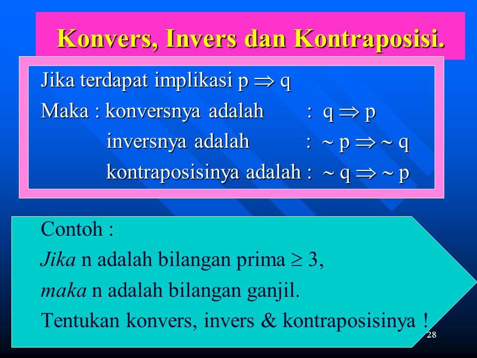 Konvers, Invers dan Kontraposisi.
