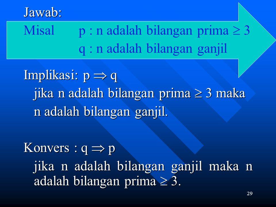 Jawab: Misal p : n adalah bilangan prima  3. q : n adalah bilangan ganjil. Implikasi: p  q. jika n adalah bilangan prima  3 maka.
