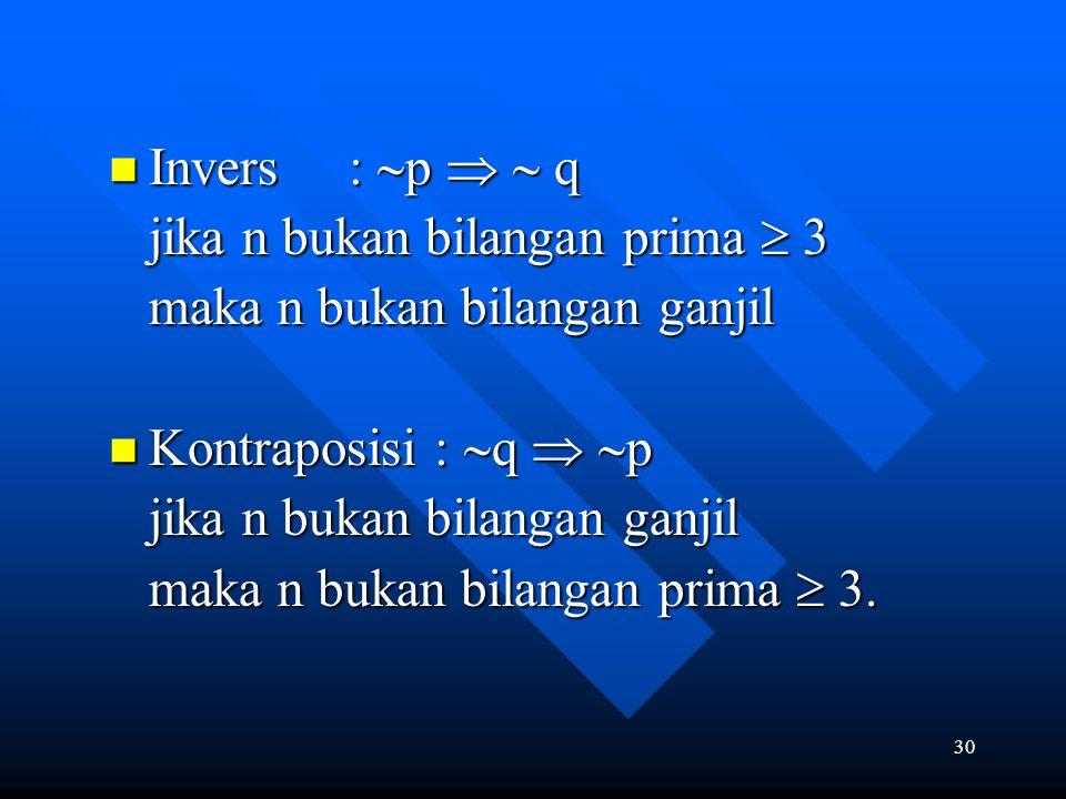 Invers : p   q jika n bukan bilangan prima  3. maka n bukan bilangan ganjil. Kontraposisi : q  p.