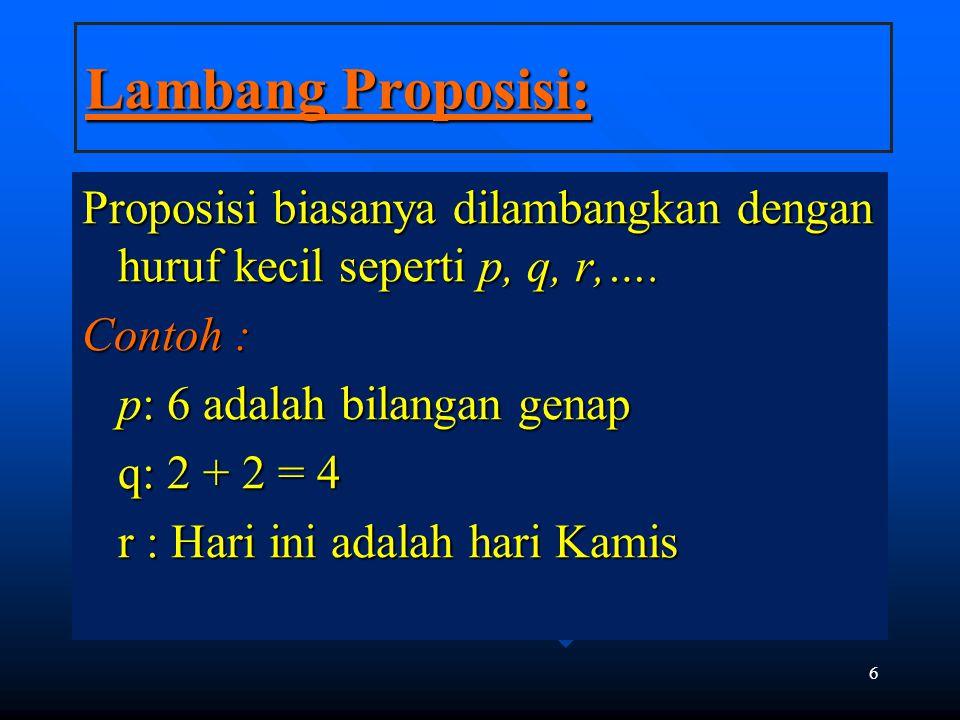 Lambang Proposisi: Proposisi biasanya dilambangkan dengan huruf kecil seperti p, q, r,…. Contoh : p: 6 adalah bilangan genap.