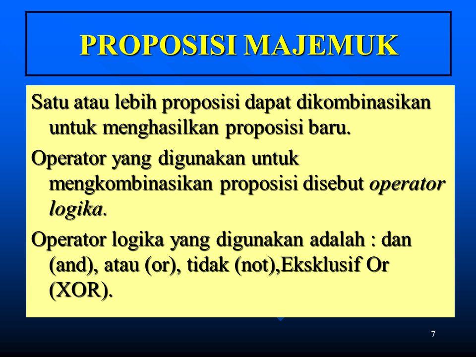 PROPOSISI MAJEMUK Satu atau lebih proposisi dapat dikombinasikan untuk menghasilkan proposisi baru.