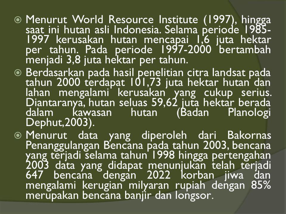Menurut World Resource Institute (1997), hingga saat ini hutan asli Indonesia. Selama periode 1985-1997 kerusakan hutan mencapai 1,6 juta hektar per tahun. Pada periode 1997-2000 bertambah menjadi 3,8 juta hektar per tahun.