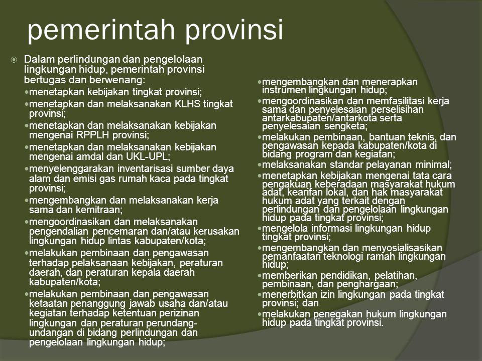 pemerintah provinsi Dalam perlindungan dan pengelolaan lingkungan hidup, pemerintah provinsi bertugas dan berwenang: