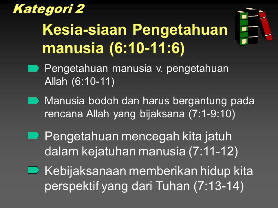 Kesia-siaan Pengetahuan manusia (6:10-11:6)